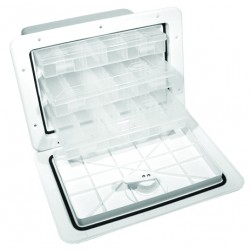 "TBOX-1317-1/2 - Tackle Storage Box with 13"" x 17"" Hatch 11"" Deep– Trays are optional - Black or Polar White"